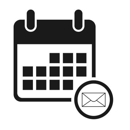 Calendar email icon, date event symbol isolated on white background. Vector web button.
