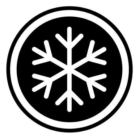 Snow winter icon, danger ice flake sign, risk alert vector illustration, careful caution symbol. Иллюстрация