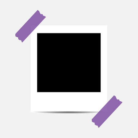 Old photo empty frame isolated on transparent background. Blank instant frame vector illustration, template card. Иллюстрация