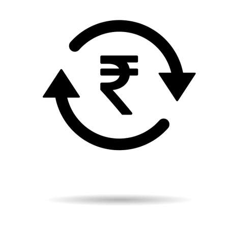 Rupee money icon, indian graphic pay business sign, market economy vector illustration. Иллюстрация