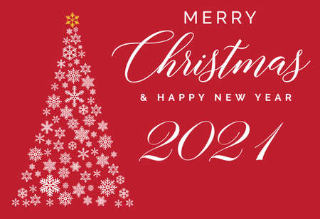 Merry Christmas and Happy New Year 2021 lettering template. Greeting card or invitation. Winter holidays related typograph. Иллюстрация