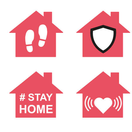 Set of stay home icon, house symbol, collection of quarantine covid virus vector illustration isolated on white background.