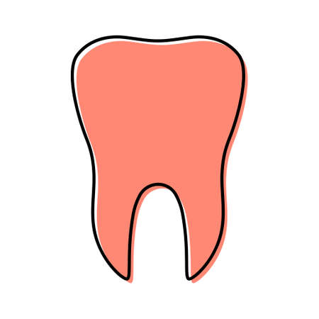 Red tooth flat icon isolated on white background. Tooth vector illustration. Dentistry symbol. Dentistry. Иллюстрация