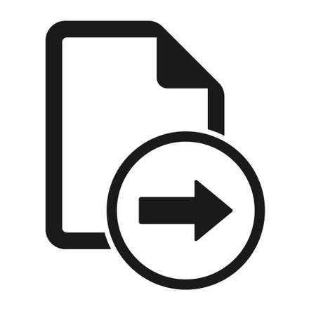 File flat icon with right arrow isolated on white background. Reply document symbol vector illustration.
