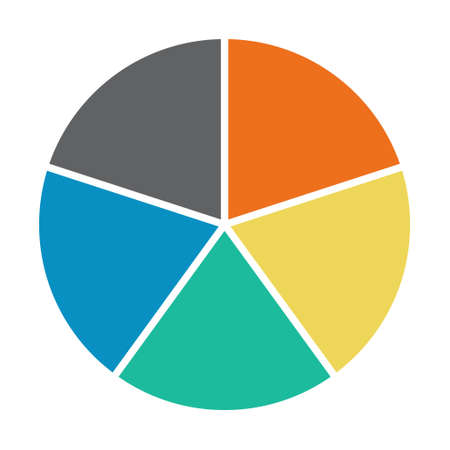 Infographic pie chart. Cycle presentation diagram 5 section. Vector isolated on white background.