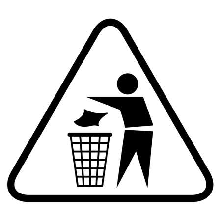 Do not litter flat icon in black triangle isolated on white background. Keep it clean vector illustration. Tidy symbol.
