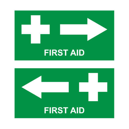 Set of first aid sign, health cross medical symbol, medicine emergency illustration icon, safety design.