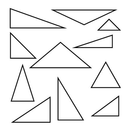 Set of triangle line design, Collection of art shape isolated on white background.