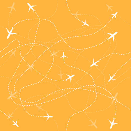 Travel aircraft seamless pattern. Fly vector graphic background. Symbol illustration.