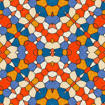 Pattern mosaic kaleidoscopic seamless generated texture, ornament, fragile, fractal, material, abstract render background. Stok Fotoğraf