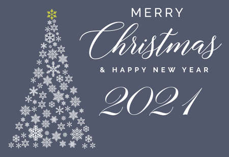 Merry Christmas and Happy New Year 2021 lettering template. Greeting card or invitation. Winter holidays related typograph. Vettoriali
