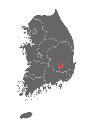 Map of Korea of republic with red detailed province, South Korea isolated on white background.