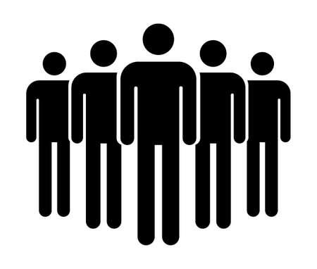 Grouping people flat icon isolated on white background. Teamwork symbol. Community vector illustration.
