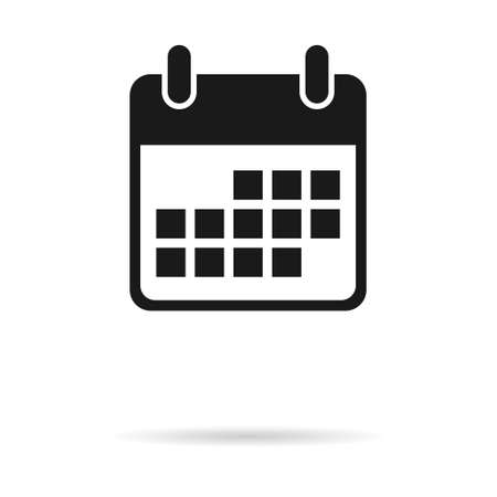 Calendar icon, date event symbol isolated on white background. Vector web button. Vettoriali
