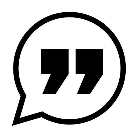 Quote concept icon, quotation speech bubble symbol, vector illustration dialog sign, text mark graphic.