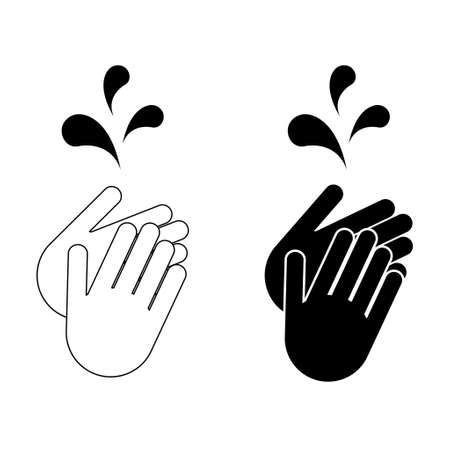 Set of clean your dirty hand, wash hygiene vector illustration icon, prevention flat symbol isolated on white background.
