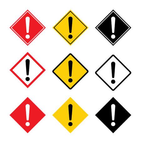 Set of hazard warning, warn symbol vector icon flat sign symbol with exclamation mark isolated on white background.