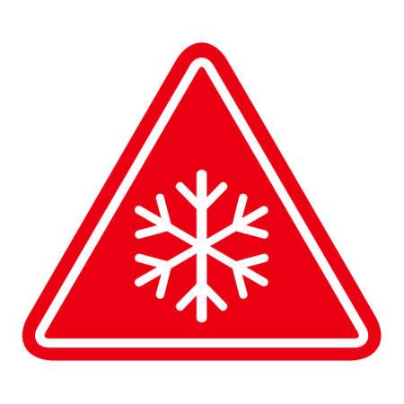 Snow winter icon, danger ice flake sign, risk alert vector illustration, careful caution symbol. Vettoriali