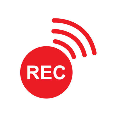 Recording sign button, red app panel, rec, vector symbol isolated on white background.