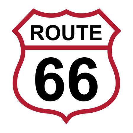 Route 66 classic icon, travel usa history highway, america road trip vector background. Ilustrace