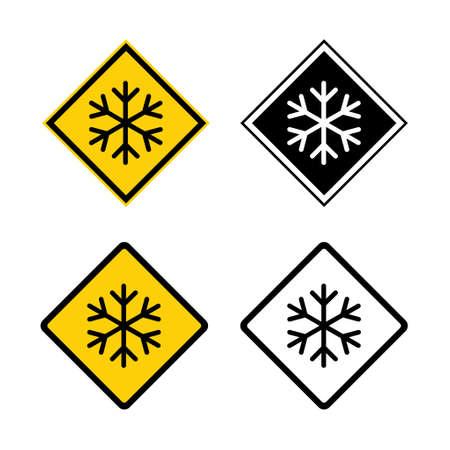 Set of snow winter icon, danger ice flake sign, risk alert vector illustration, careful caution symbol.