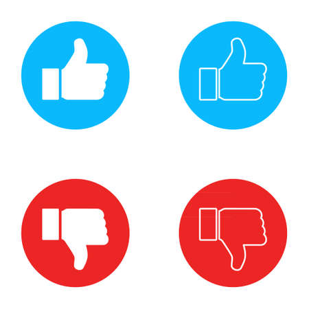 Thumb up and down icon, like finger vector illustration sign, business social web button.