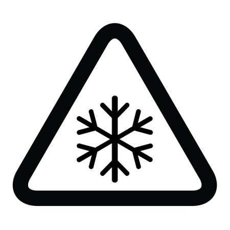 Snow winter icon, danger ice flake sign, risk alert vector illustration, careful caution symbol.  イラスト・ベクター素材