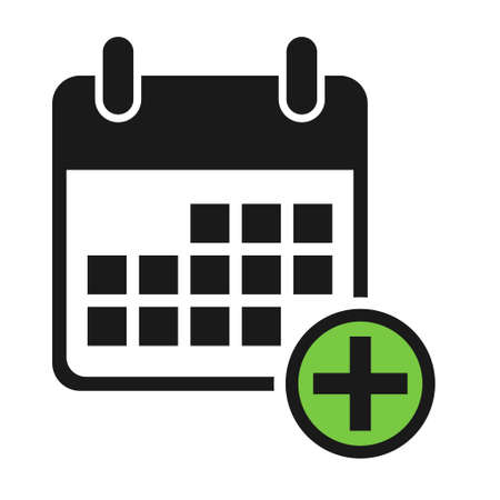 Calendar icon add, date event symbol isolated on white background. Vector web button.