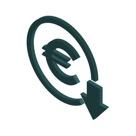 Euro reduction symbol, cost decrease icon. Reduce debt bussiness sign vector illustration. Vettoriali