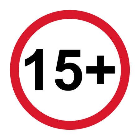 15+ restriction flat sign isolated on white background. Age limit symbol. No under fifteen years warning illustration.
