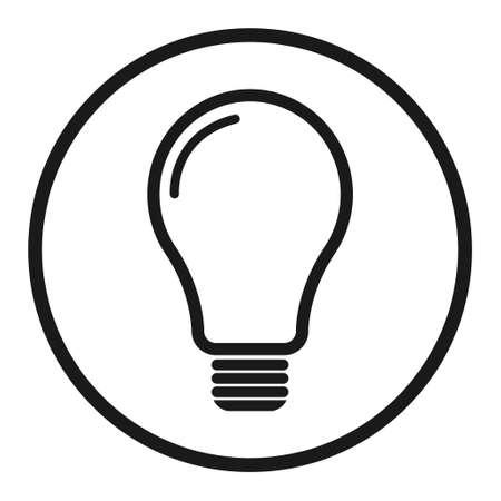 Light bulb icon, Lightbulb energy symbol Electric power vector illustration isolated on white background Black and white design.