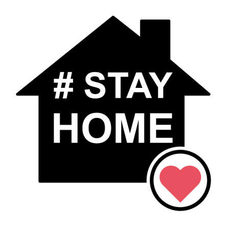 Stay home icon, house symbol, quarantine covid virus vector illustration isolated on white background.