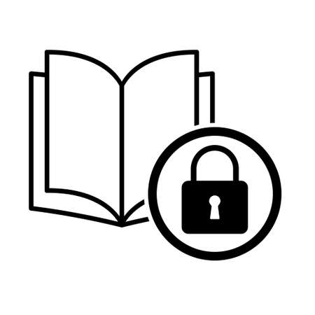 Book icon, lock open education textbook, library vector illustration symbol. learning design isolated white background.