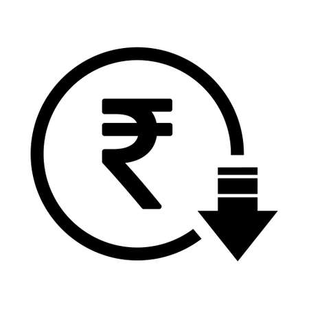Rupee reduction symbol, cost decrease icon. Reduce debt bussiness sign vector illustration.
