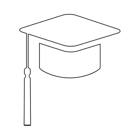Cap, hat symbol isolated on white background. Graduate education illustration vector icon, success web button.