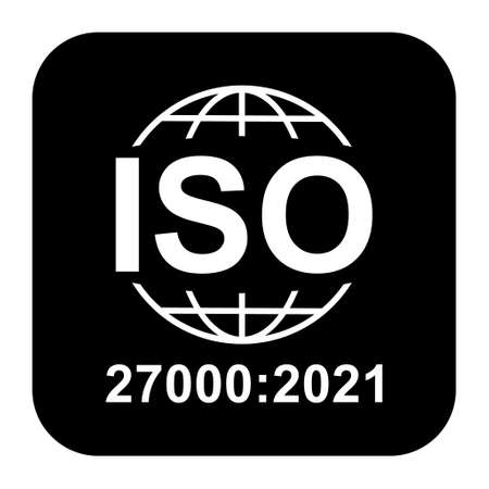 Iso 27000 icon. Information Security Management System. Standard quality symbol. Vector button sign isolated on black background.