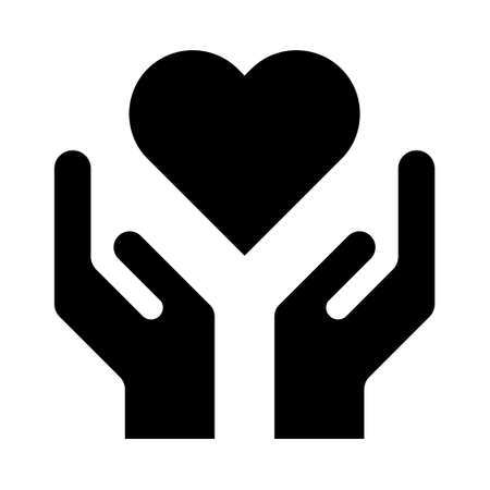 Hope icon, human hand with heart symbol, help and protection graphic design, support vector illustration. Ilustrace