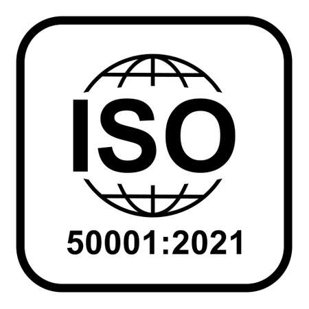 Iso 50001: 2021 icon. Energy Management. Standard quality symbol. Vector button sign isolated on white background.