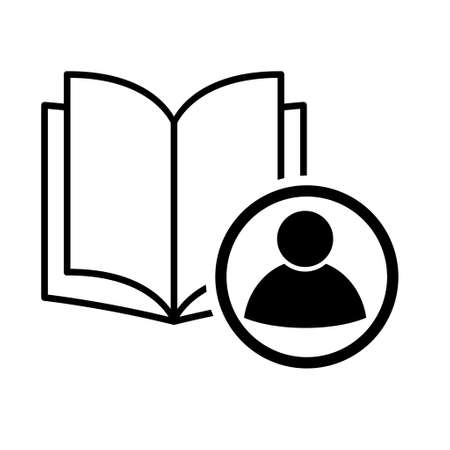 Book icon, user open education textbook, library vector illustration symbol. learning design isolated white background.