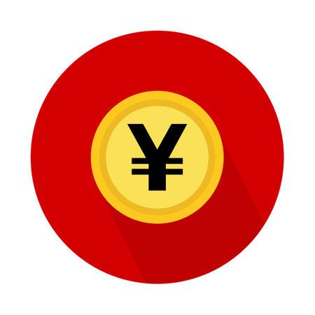 Yen coin icon, money bank flat design, finance symbol for web, logo, app vector illustration.