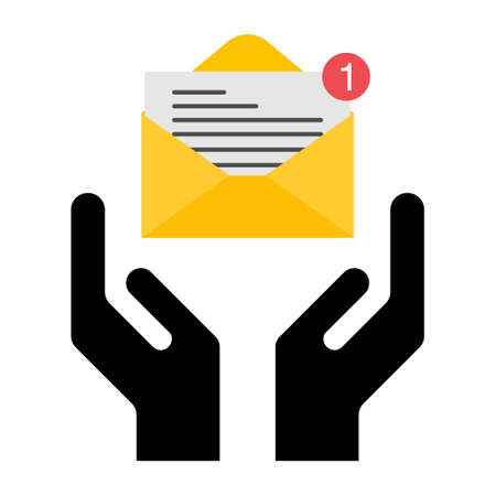 Hope icon, human hand with email symbol, help and protection graphic design, support vector illustration.