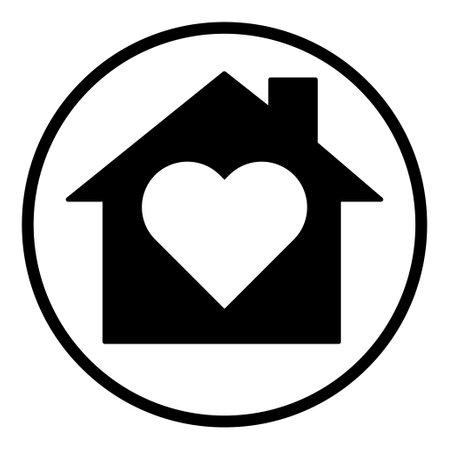 Stay home icon, house symbol, quarantine virus vector illustration isolated on white background.