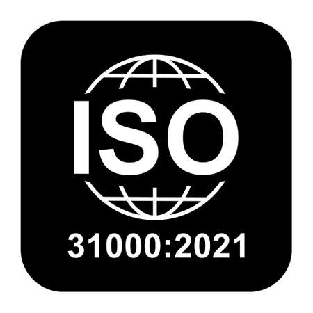 Iso 31000: 2021 icon. Risk Management. Standard quality symbol. Vector button sign isolated on black background. 矢量图像
