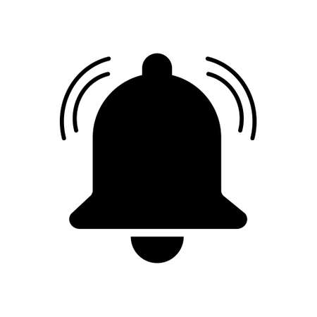 Bell alert icon isolated on white background, black alarm vector illustration symbol, ring web signal.