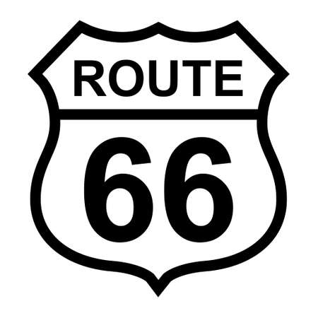 Route 66 classic icon, travel usa history highway, america road trip vector background. 矢量图像