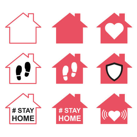 Set of stay home icon, house symbol, collection of quarantine virus vector illustration isolated on white background.