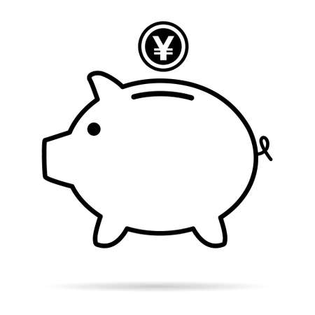 Piggy bank flat icon, vector sign with yuan web symbol. Money income, economic graphic button.