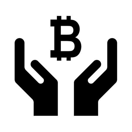 Hope icon, human hand with bitcoin symbol, help and protection graphic design, support vector illustration.