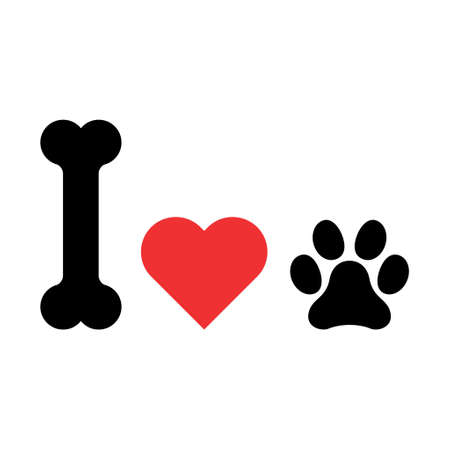 I love my dog icon, print symbol isoalted on white background. Cute graphic, vector illustration.