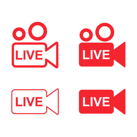 Set of live streaming icon. Collection of modern air vector button design isolated on white background.